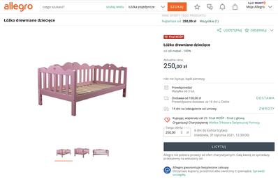 Licytujme łóżko dziecięce producenta Ola-Mebel