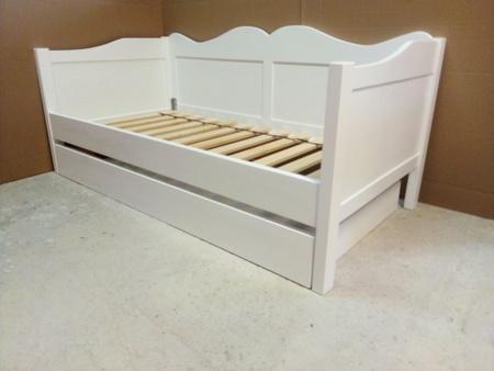 Łóżko drewniane dziecięce  z fala 80x180 białe z szufladą , (1) -