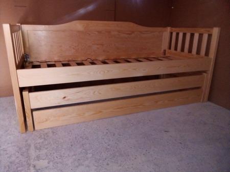 Łóżko Furu piętrowe niskie, (2) -
